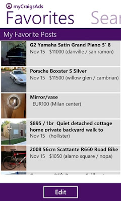 Craigslist WP7 app