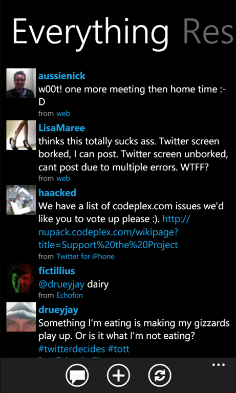 Mahtweets, Windows Phone 7 Twitter client with Push ...