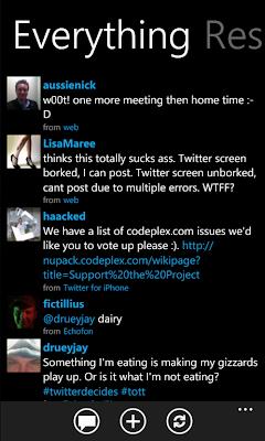 mahtweets wp7 twitter client