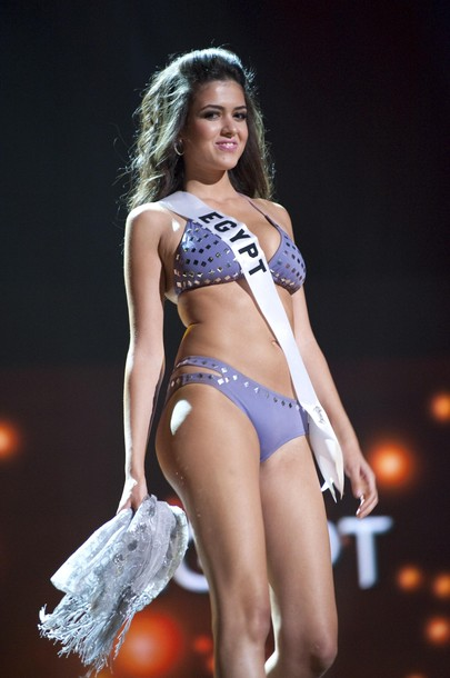 miss egypt 2010 donia hamed performs in her swimsuit byDonia Hamed