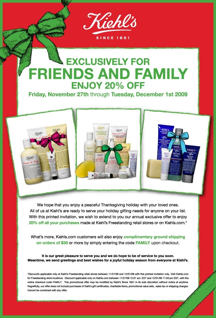 image regarding American Girl Printable Coupons named Kiehls coupon within retailer - American woman cyber monday discounts 2018