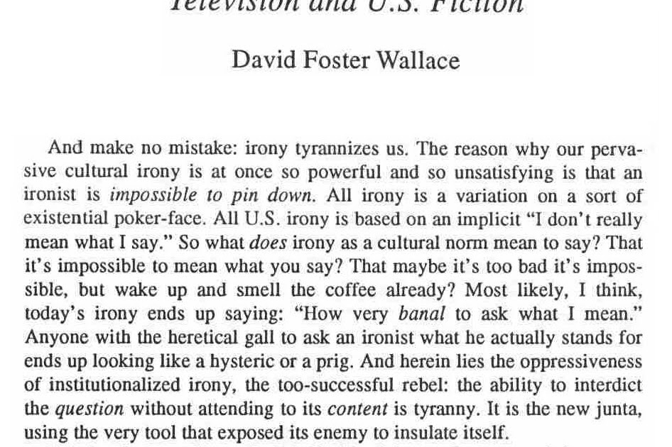 """michael chabon essay david foster wallace On one side of the table, it's 1993 and david foster wallace is hunched,   across from him is michael chabon in 2005, natty, boyish, and smiling: """"i  may  be """"the ecstasy of influence,"""" an essay made up entirely of citations."""