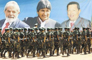 Desfile tipo soviético, Riberalta, Lula-Evo-Chavez