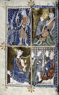 Episódios da vida do rei-progeta David. Salomão com muitas mulheres que o levaram à perdição. Manuscrito da Spencer Collection, Ms 002.