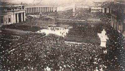 24 de abril de 1870, o Papa Pio IX abençõa suas tropas pela última vez antes da queda de Roma. Poucos dias depois muitos desses soldados morreram mártires.