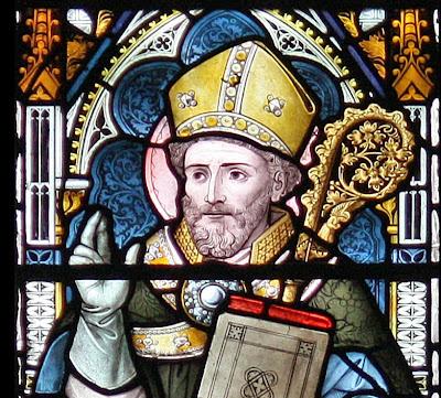 Santo Anselmo de Cantuária, detalhe de vitral de Cambridge