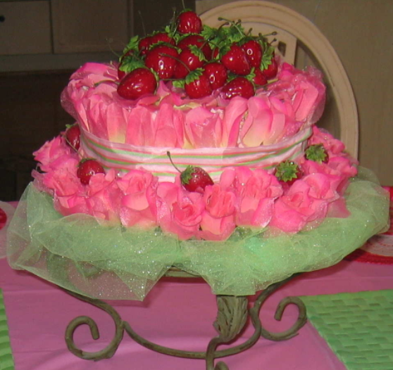 made this faux strawberry shortcake cake as the centerpiece for a ss ...