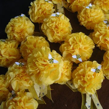 corsages for baby shower. Tissue paper corsages