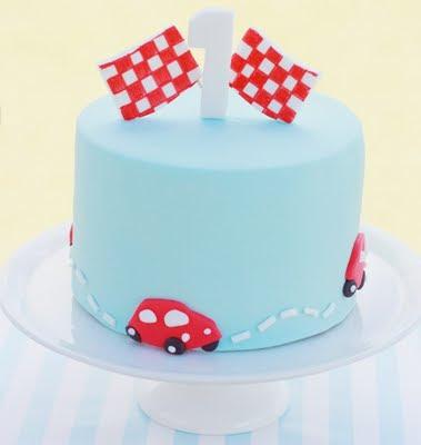 red aqua car cake