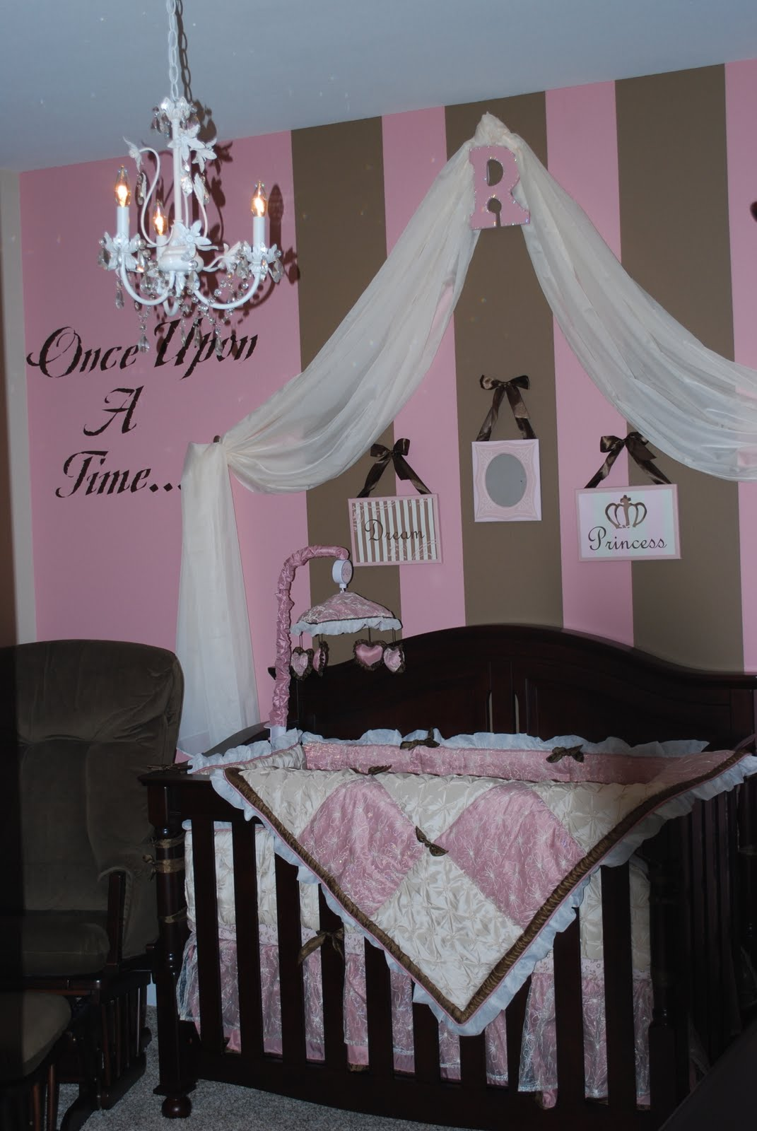 Pink brown baby nurseries design dazzle Infant girl room ideas