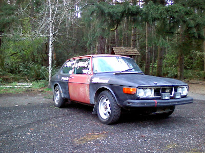 Saab 99 EMS Rally car on a test drive about a month before Olympus Rally 2010.
