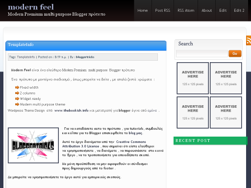 Modern Feel Blogger Template