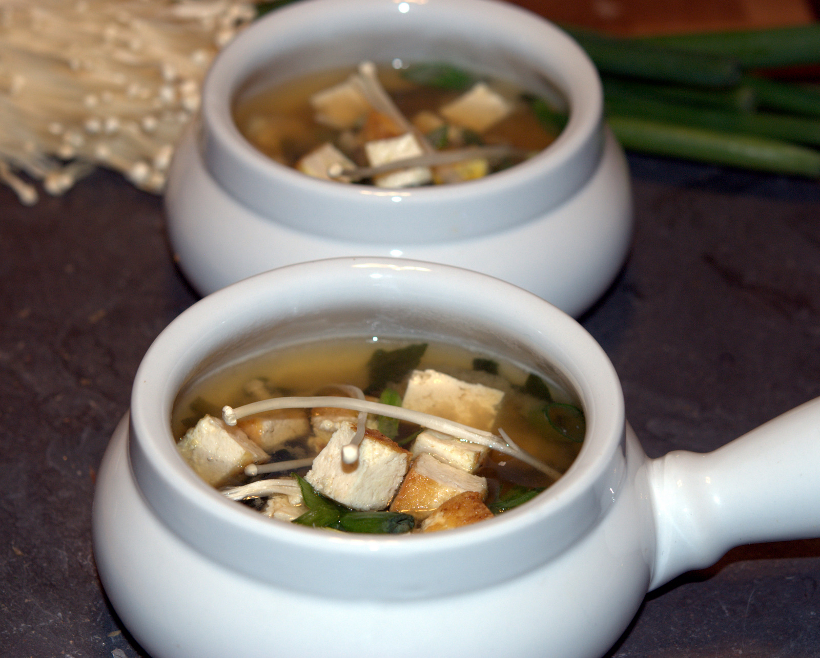 Wild Greens and Sardines : Miso Soup with Enoki Mushrooms and Tofu