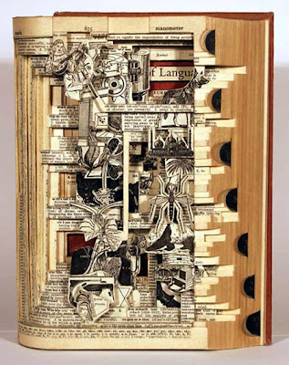 Brian Dettmer carves into books sculpture