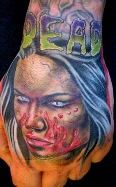 A cool selection of scary tattoos with zombies.