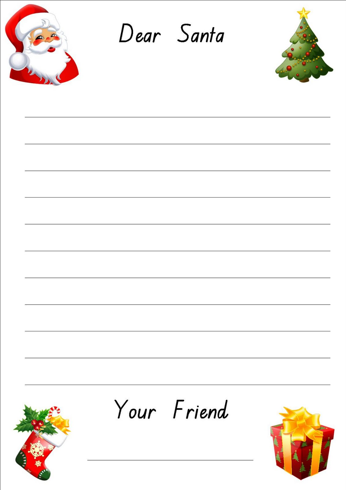 Free Homeschool Printables: Letter To Santa Writing Paper from Our ...