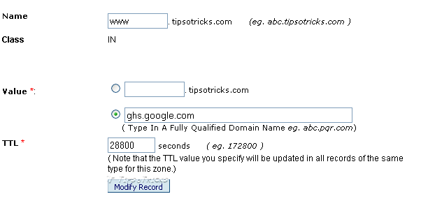 Adding CNAME in DNS Settings