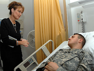 Gov. Palin Took Time to Visit Wounded Troops in Germany