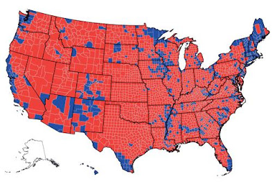 Red America Blue America County Maps Totals - Red blue us county map