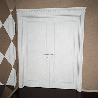 Free 3D model - White wooden 2X doors