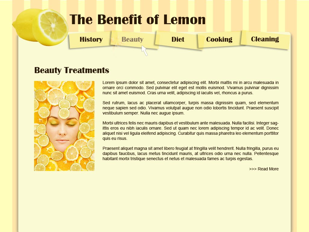 Food and Beverages: Lemon Benefit Web Layout Design