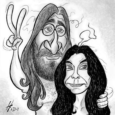 John Lennon & Yoko Ono caricature
