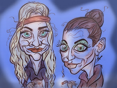 Olsen Twins as Zombies caricature