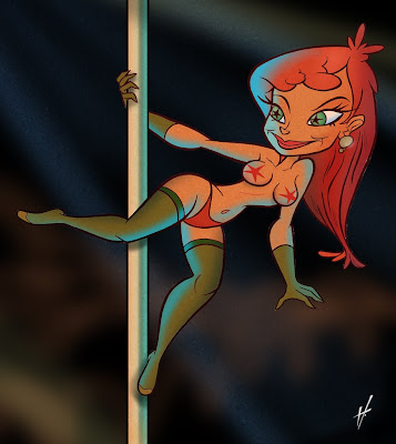 pole dancer stripper caricature cartoon