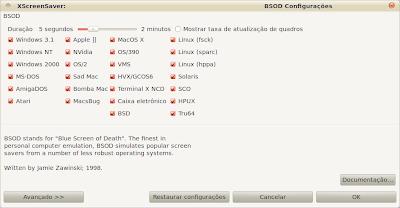 BSOD screensaver - Configurações