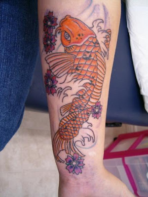 Japanese Arm Koi Fish Tattoo Design