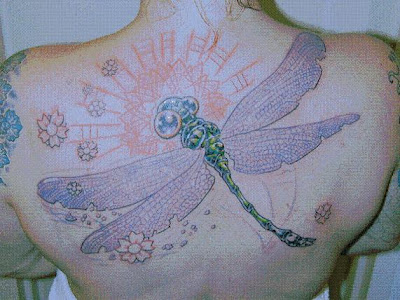 Sexy Girl With Design Dragonfly Tattoo on Lower Back