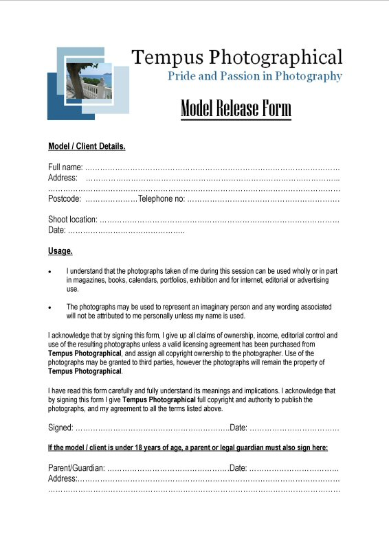 Modeling 101 - A Model'S Diary: The Model Release Form