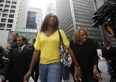Black Tennis Pro's Venus Williams and her mom, Oracene Price downtown Hong Kong during 2010 Hong Kong Classic