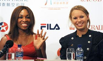 Black Tennis Pro's Venus Williams and Caroline Wozniacki at Hong Kong Classic 2010 Press Conference