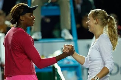 Black Tennis Pro's Venus Williams and Caroline Wozniacki 2010 Hong Kong Exhibition Match