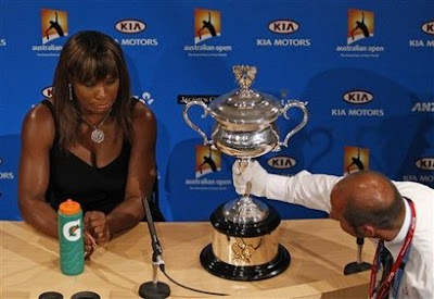 Black Tennis Pro's Serena Williams 2010 Australian Open Trophy Photo Shoot