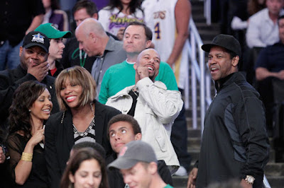 Black Tennis Pro's Serena Williams, Common and Denzel Washington at Lakers game