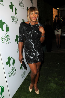 Black Tennis Pro's Serena Williams in Beverly Hills at Global Green Pre-Oscar Party