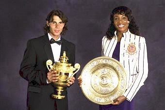 Black Tennis Pro's Venus Williams and Rafael Nadal 2008 Wimbledon Champions