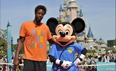 Black Tennis Pro's Gael Monfils and Mickey Mouse Disneyland Paris