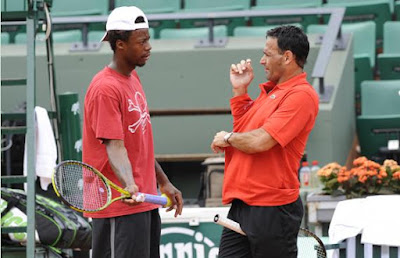 Black Tennis Pro's Gael Monfils and Roger Rasheed Practice