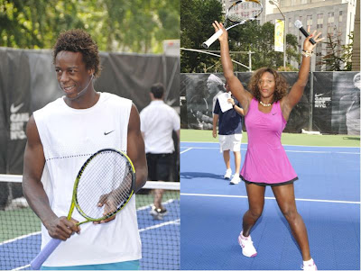 Black Tennis Pro's Gael Monfils and Serena Williams At Nike Tennis Challenge, New York