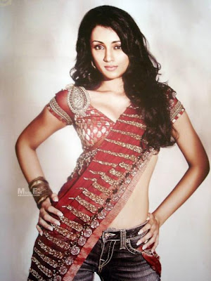 Trisha krishnan Saree on jeans