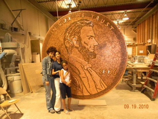 Woman Makes Giant Penny Sculpture Using 84,000 Pennies