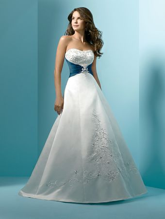 White with Blue Accents Wedding Dress