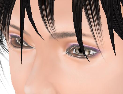 アバターの瞼が突き出ている