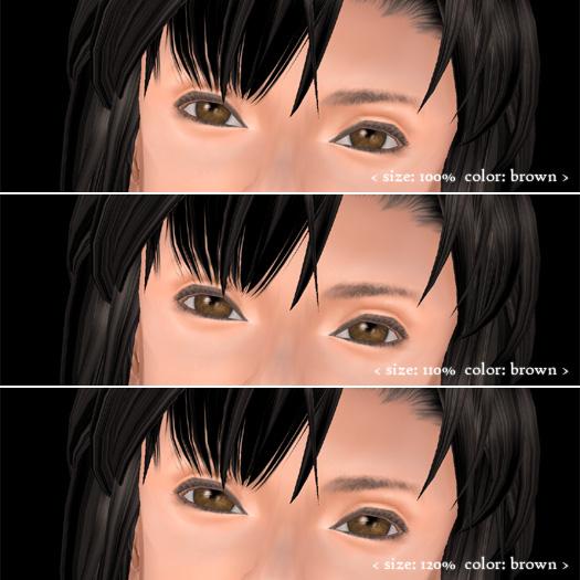 瞳サイズ100%、110%、120%の比較