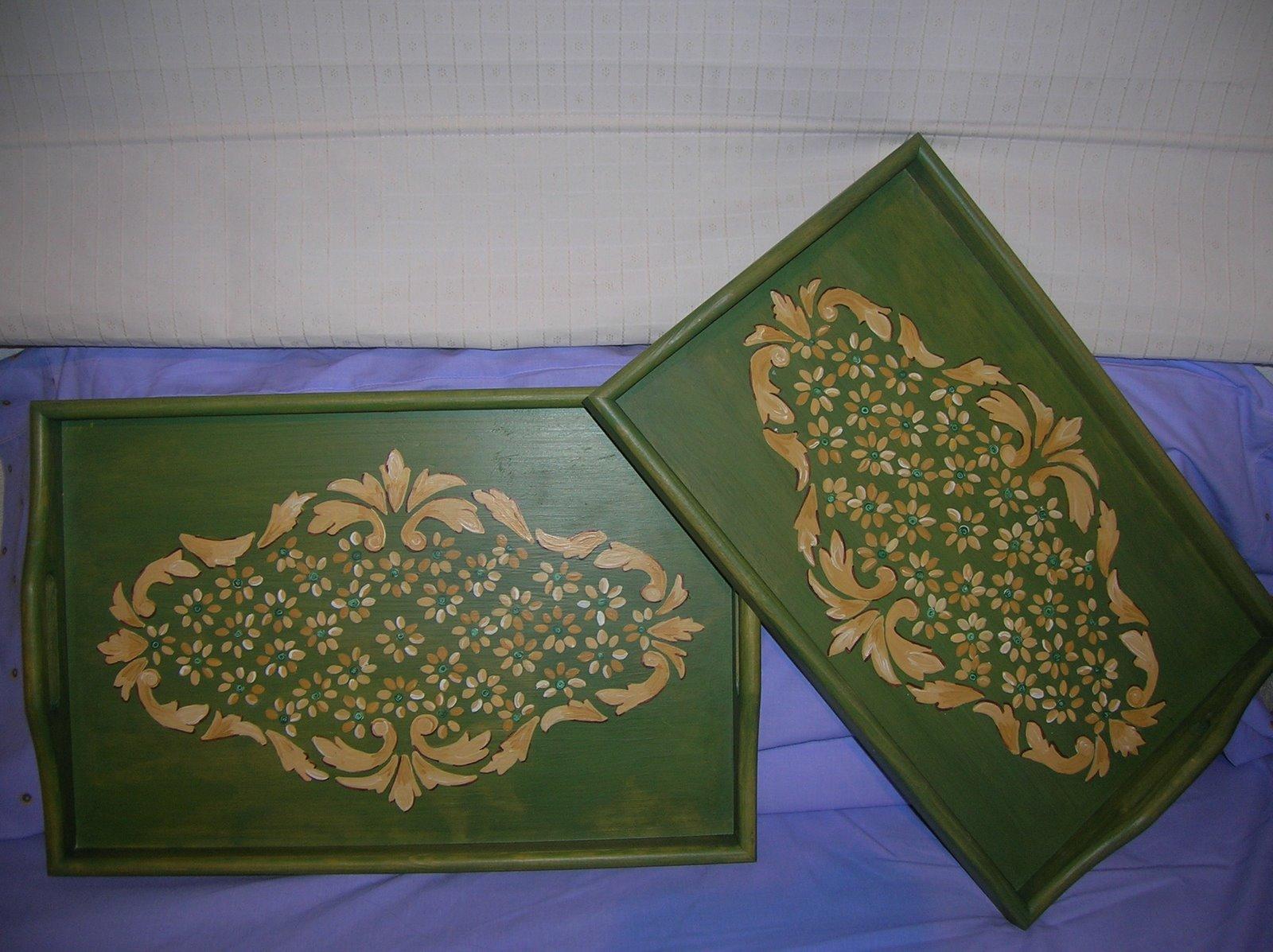 Bandejas madera green for Bandejas de madera decoradas