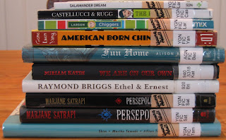 Pile of graphic novels and memoirs