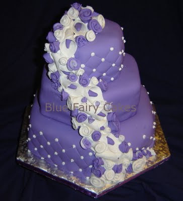 Blue Fairy Cakes Purple Roses Lillies Wedding Cake